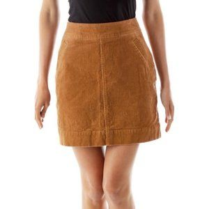LOFT Tan Corduroy A-Line Mini Skirt